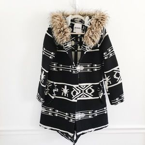 BB Dakota Tribal Aztec Print Fur Coat Jacket